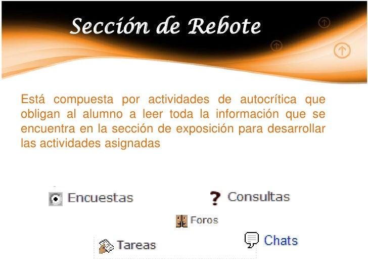 Sección de Rebote<br />Está compuesta por actividades de autocrítica que obligan al alumno a leer toda la información que ...