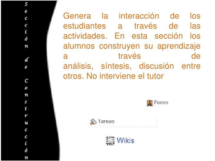 Sección de Construcción<br />Genera la interacción de los estudiantes a través de las actividades. En esta sección los alu...