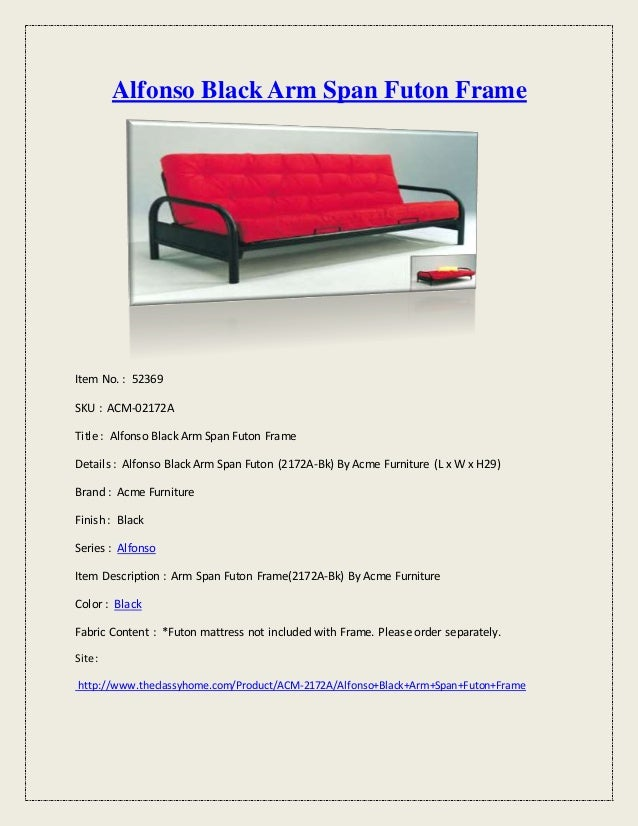 Alfonso black arm span futon frame