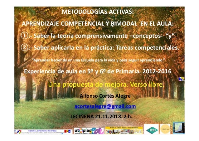 """METODOLOGÍAS ACTIVAS: APRENDIZAJE COMPETENCIAL Y BIMODAL EN EL AULA: .- Saber la teoría comprensivamente –conceptos- """"y"""" ...."""