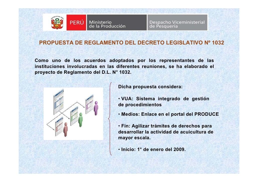 PROPUESTA DE REGLAMENTO DEL DECRETO LEGISLATIVO Nº 1032   Como uno de los acuerdos adoptados por los representantes de las...