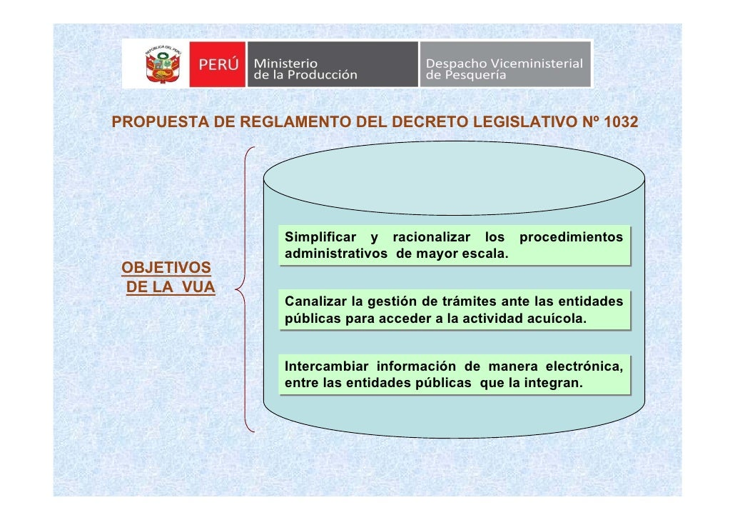 PROPUESTA DE REGLAMENTO DEL DECRETO LEGISLATIVO Nº 1032                       Simplificar y racionalizar los procedimiento...