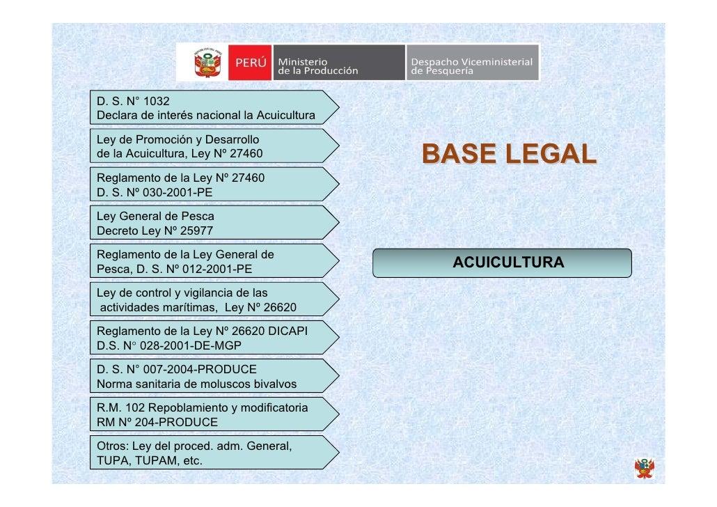 D. S. N° 1032 Declara de interés nacional la Acuicultura  Ley de Promoción y Desarrollo de la Acuicultura, Ley Nº 27460   ...