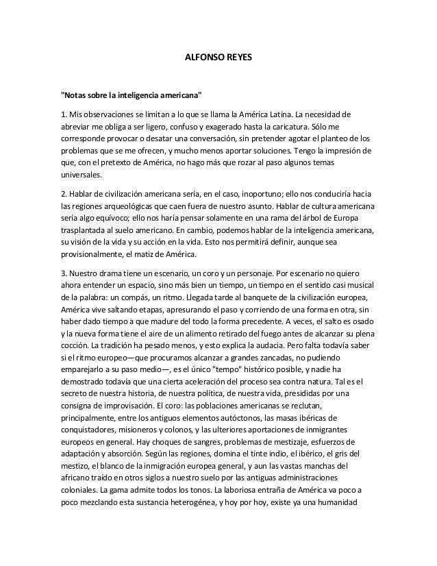 """ALFONSO REYES""""Notas sobre la inteligencia americana""""1. Mis observaciones se limitan a lo que se llama la América Latina. L..."""