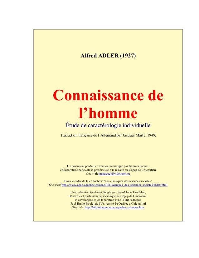 Alfred ADLER (1927) Connaissance de l'homme Étude de caractérologie individuelle Traduction française de l'Allemand par Ja...