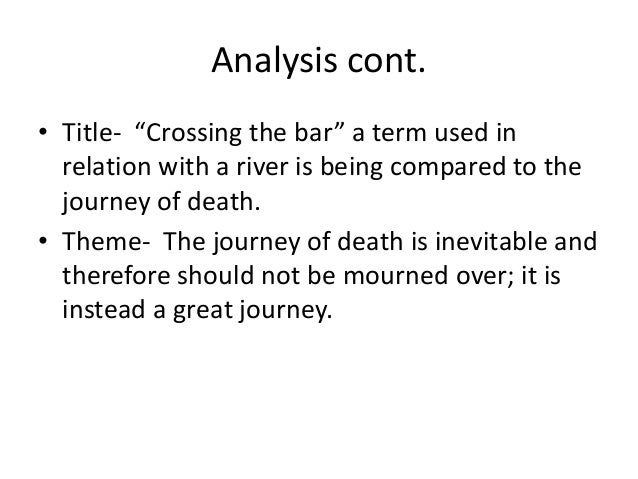 crossing the bar poem analysis