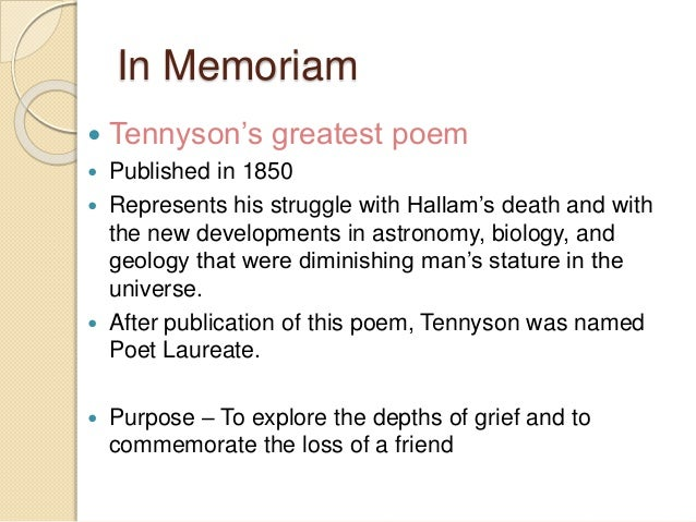 an analysis of the poem by lord tennyson The poem ring out, wild bells, by alfred, lord tennyson, forms part of the elegy in memoriam, ahh, published in 1850 tennyson wrote the elegy as a tribute to his close friend, who was also his sister's fiancé, arthur henry hallam, who had died suddenly at the age of twenty-two.