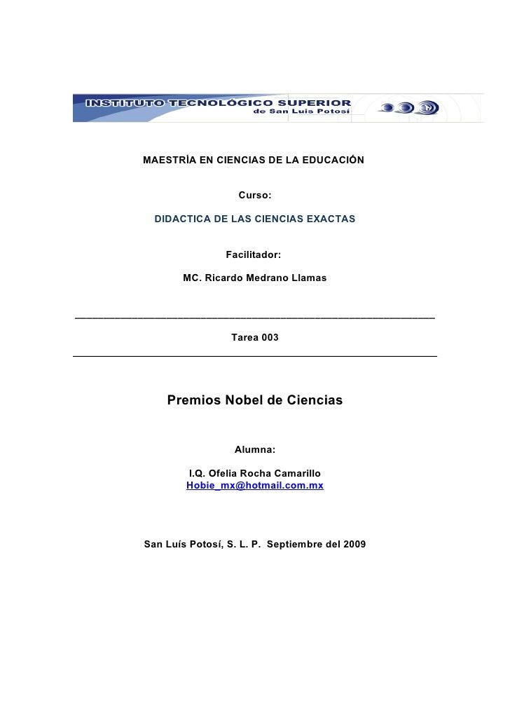 MAESTRÍA EN CIENCIAS DE LA EDUCACIÓN                                  Curso:                DIDACTICA DE LAS CIENCIAS EXAC...