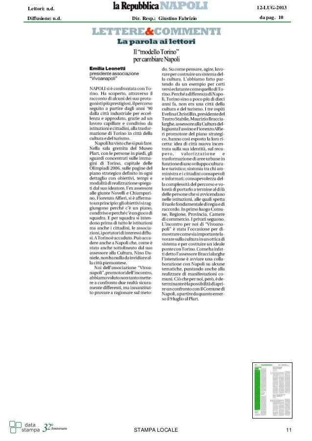 da pag. 10 12-LUG-2013 Diffusione: n.d. Lettori: n.d. Dir. Resp.: Giustino Fabrizio STAMPA LOCALE 11