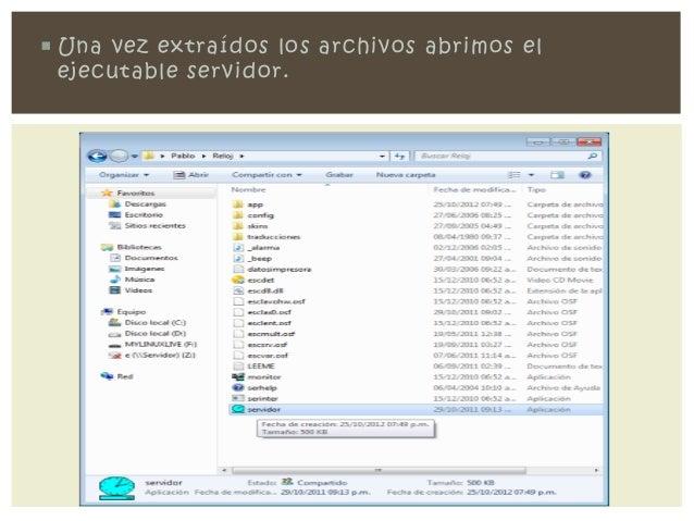 Una vez extraídos los archivos abrimos el  ejecutable servidor.