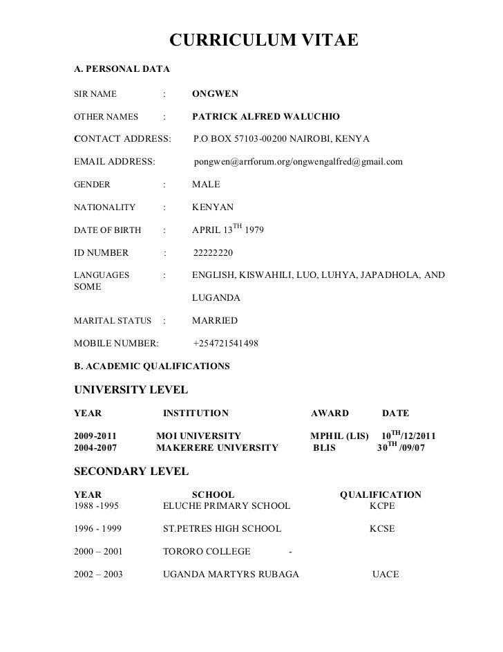 Curriculum Vitae In Kenya Attiya Waris University Of Nairobi