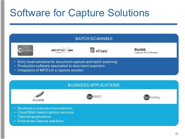 11 • Entry level solutions for document capture and batch scanning • Production software associated to document scanners •...