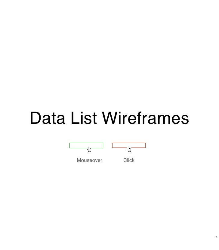 Data List Wireframes       Mouseover   Click                              1