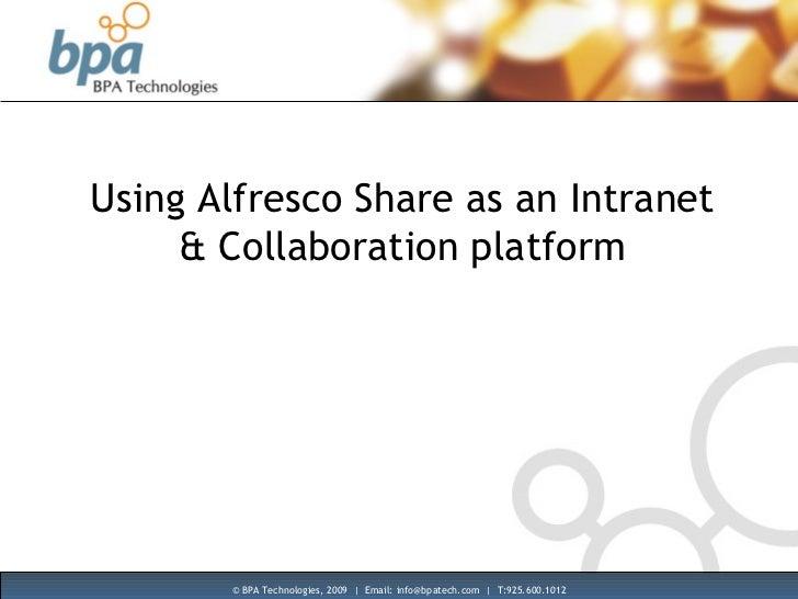 Using Alfresco Share as an Intranet & Collaboration platform