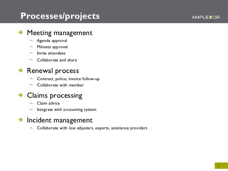 Processes/projects <ul><li>Meeting management </li></ul><ul><ul><li>Agenda approval </li></ul></ul><ul><ul><li>Minutes app...