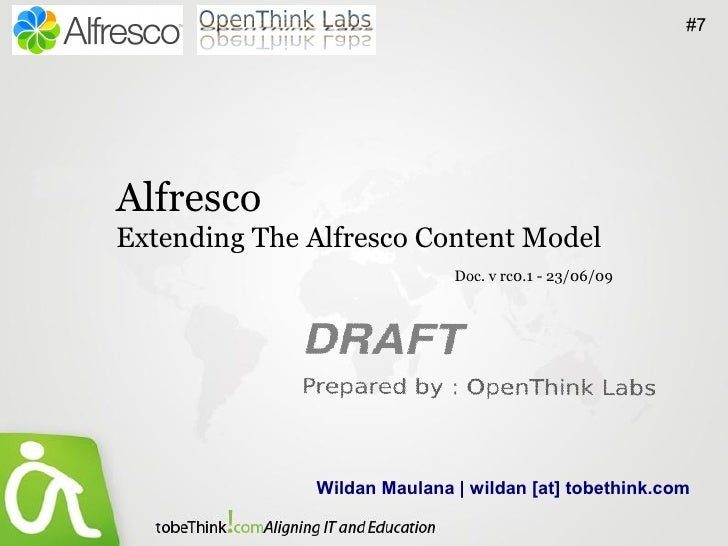 #7     Alfresco Extending The Alfresco Content Model                              Doc. v rc0.1 - 23/06/09                 ...