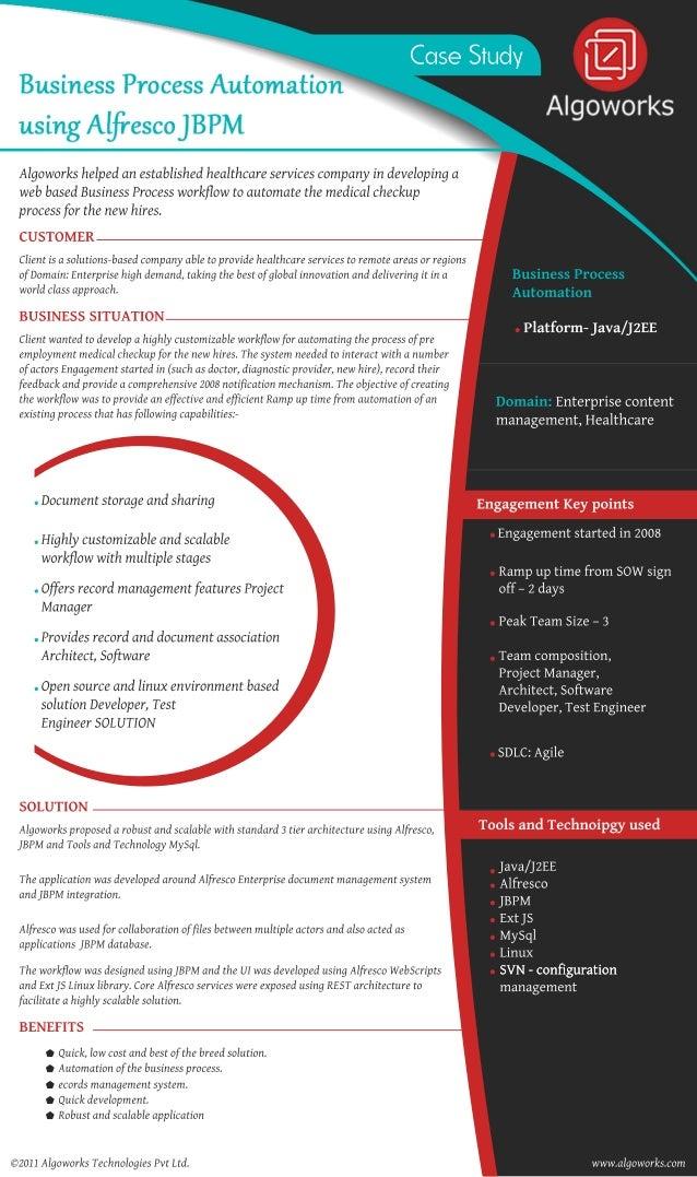 CaseStudy Algoworkshelpedanestablishedhealthcareservicescompanyindevelopinga webbasedBusinessProcessworkflowtoautomatethem...