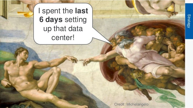 Strategy I spent the last 6 days setting up that data center! Credit: Michelangelo