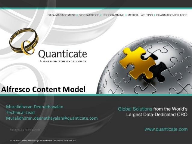 Confidential, Copyright © Quanticate Alfresco Content Model Muralidharan Deenathayalan Technical Lead Muralidharan.deenath...