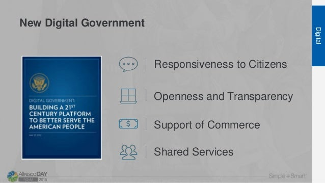 New Digital Government Digital Responsiveness to Citizens Openness and Transparency Support of Commerce Shared Services