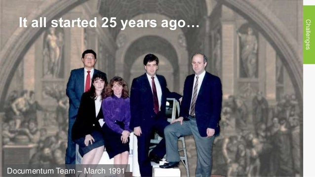 It all started 25 years ago… Challenges Documentum Team – March 1991