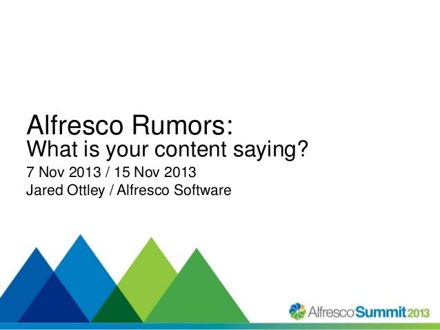 Alfresco Rumors: What is your content saying? 7 Nov 2013 / 15 Nov 2013 Jared Ottley / Alfresco Software  #SummitNow