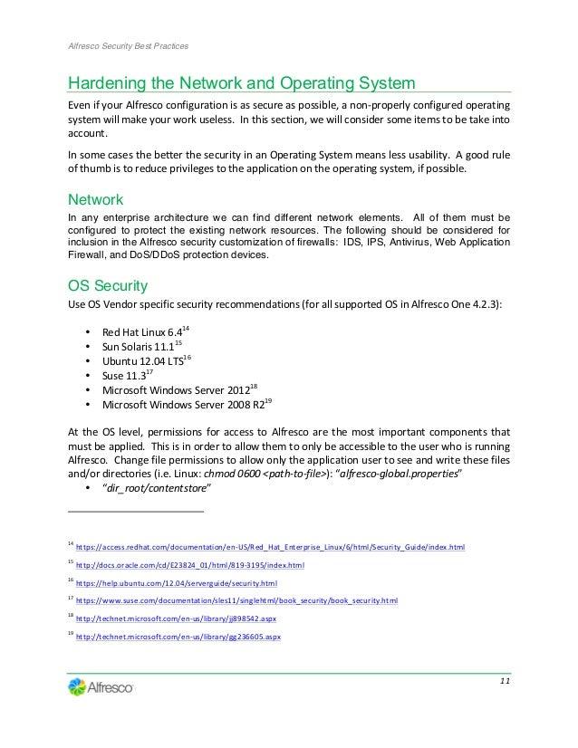 alfresco security best practices guide rh slideshare net Data Center Security Best Practices Application Security Best Practices
