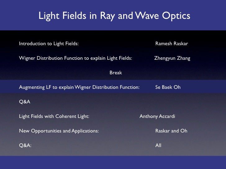 Light Fields in Ray and Wave Optics  Introduction to Light Fields:                                   Ramesh Raskar  Wigner...