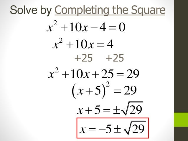 Alg 2 completing the square
