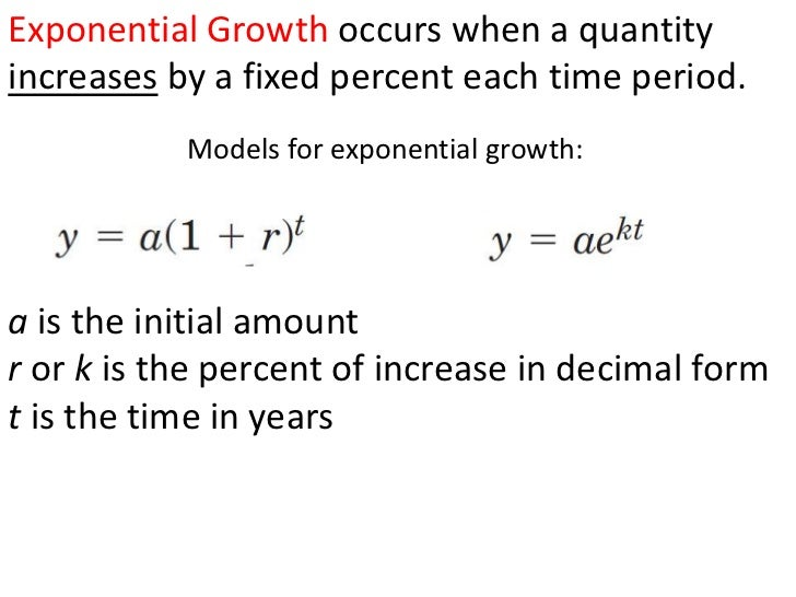 Exponential Growth occurs when a quantity increases by a fixed percent each time period.<br />Models for exponential growt...