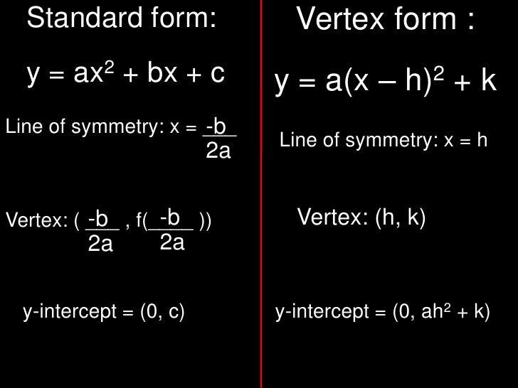 Vertex form :<br />y = a(x – h)2 + k<br />Standard form:<br />y = ax2 + bx + c<br />-b2a<br />-b2a<br />Line of symmetry: ...