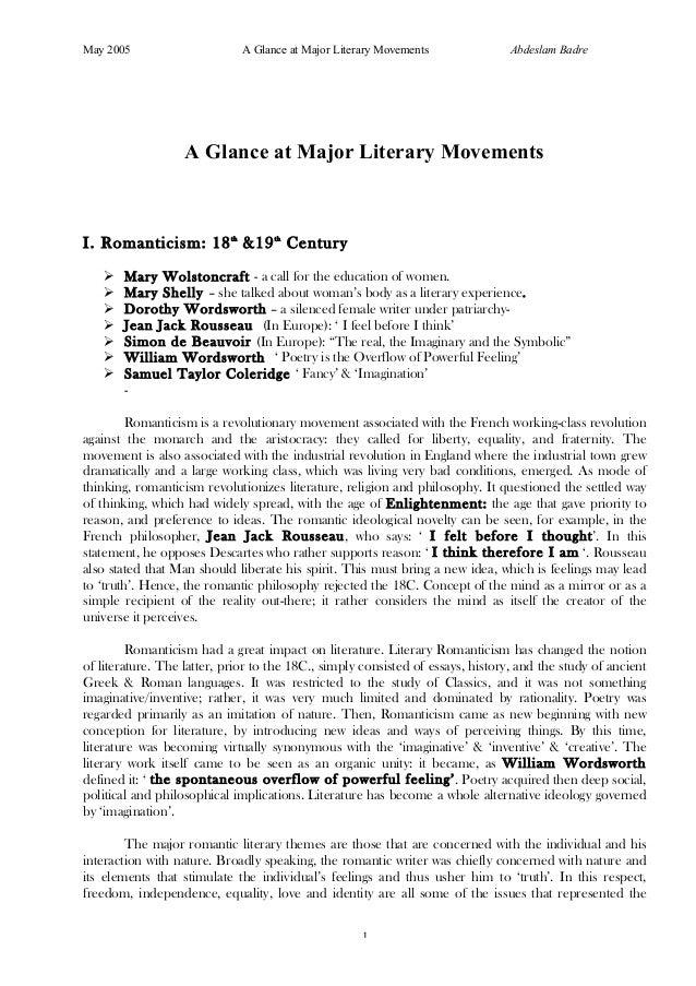 May 2005                      A Glance at Major Literary Movements               Abdeslam Badre                   A Glance...