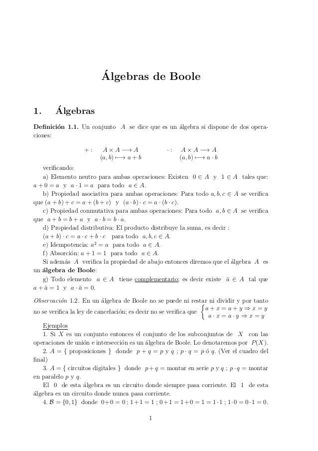 ´Algebras de Boole1. ´AlgebrasDefinici´on 1.1. Un conjunto A se dice que es un ´algebra si dispone de dos opera-ciones:+ : ...