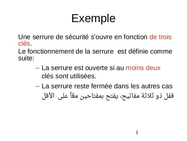1 Exemple Une serrure de sécurité s'ouvre en fonction de trois clés. Le fonctionnement de la serrure est définie comme sui...