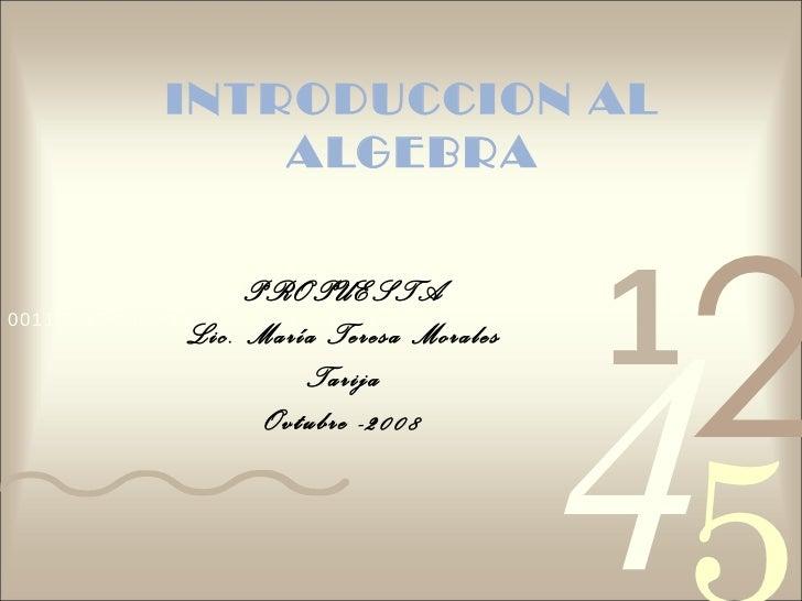 INTRODUCCION AL ALGEBRA PROPUESTA Lic. María Teresa Morales Tarija Ovtubre -2008