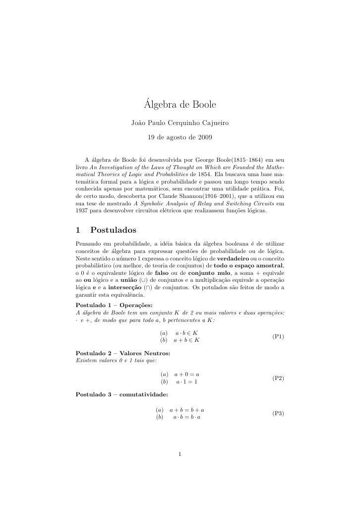 ´                         Algebra de Boole                    Jo˜o Paulo Cerquinho Cajueiro                      a        ...