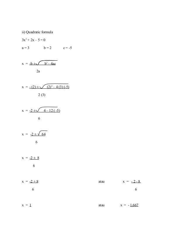 Contoh soalan dan jawapan Algebra