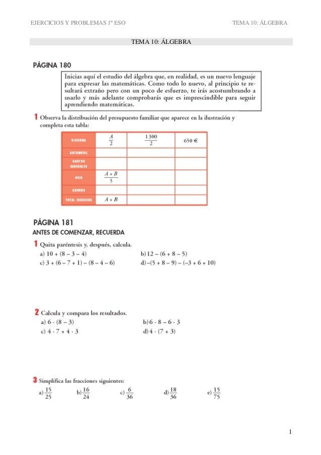 EJERCICIOS Y PROBLEMAS 1º ESO TEMA 10: ÁLGEBRA 1 TEMA 10: ÁLGEBRA