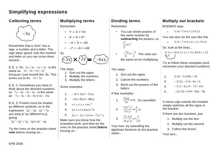 Simplifying expressions Collecting terms                     Multiplying terms                   Dividing terms           ...