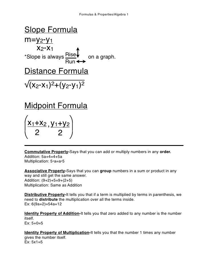 Formulas & Properties/Algebra 1    Slope Formula m=y2-y1    x2-x1 *Slope is always Rise               on a graph.         ...