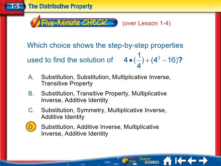 <ul><li>A </li></ul><ul><li>B </li></ul><ul><li>C </li></ul><ul><li>D </li></ul>5Min 5-3 A. Substitution, Substitution, Mu...