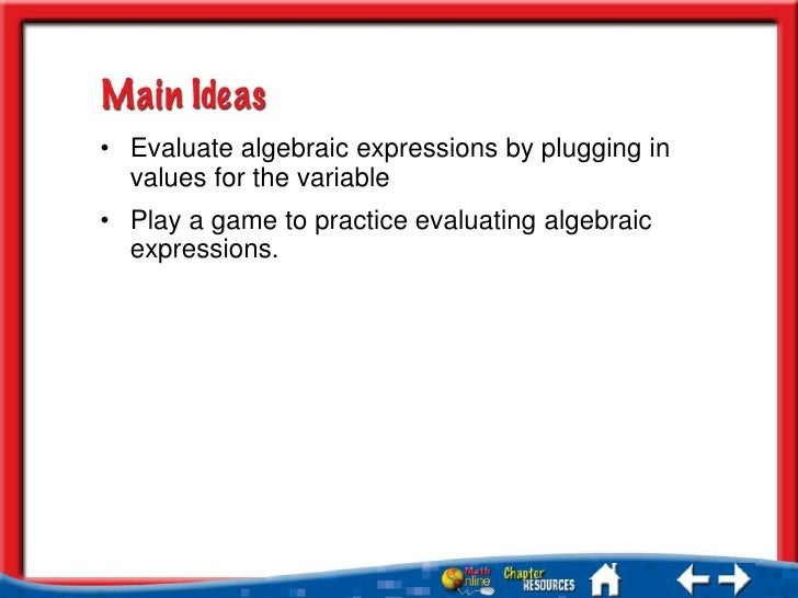evaluating and writing algebraic expressions games