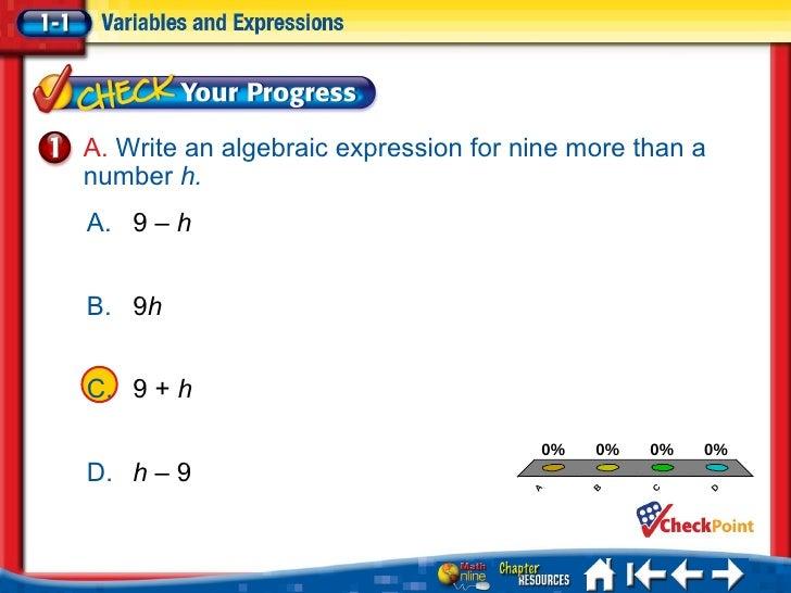 Writing an algebraic expression