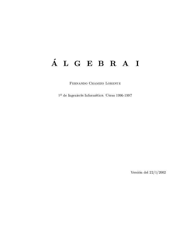 Algebra 1 fernando chamizo lorente