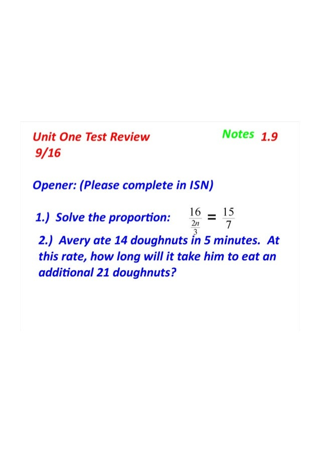 unit one notes Montgomery county public schools students solved problems involving one-and two-step equations and unit 1 is typically a four-week unit taught in.