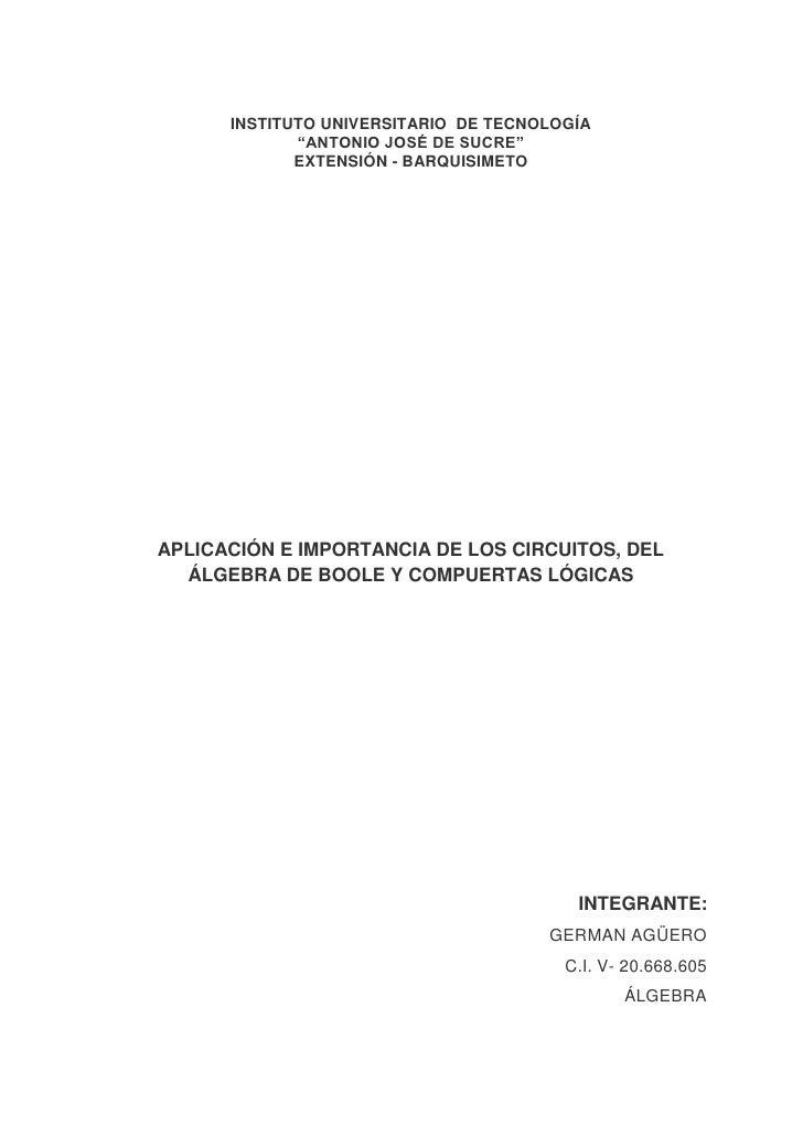 """INSTITUTO UNIVERSITARIO DE TECNOLOGÍA             """"ANTONIO JOSÉ DE SUCRE""""             EXTENSIÓN - BARQUISIMETOAPLICACIÓN E..."""