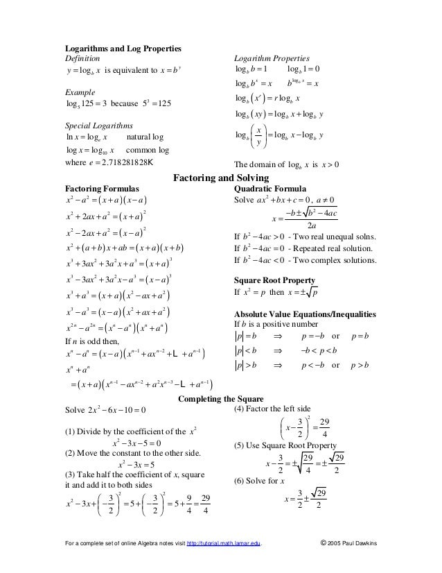 Algebra II For Dummies Cheat Sheet - dummies