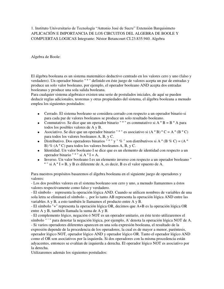 """1. Instituto Universitario de Tecnología """"Antonio José de Sucre"""" Extensión BarquisimetoAPLICACIÓN E IMPORTANCIA DE LOS CIR..."""