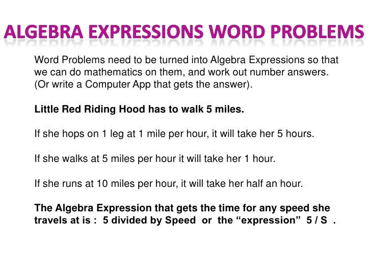 Linear Expressions and Word Problems