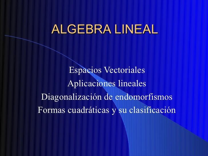ALGEBRA LINEAL       Espacios Vectoriales       Aplicaciones lineales Diagonalización de endomorfismosFormas cuadráticas y...